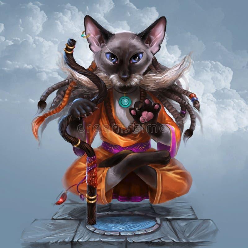 Gato que faz a ioga e que flutua no ar ilustração royalty free