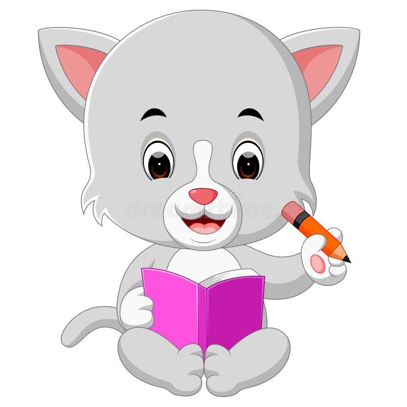 Gato que guarda o livro e o lápis ilustração do vetor