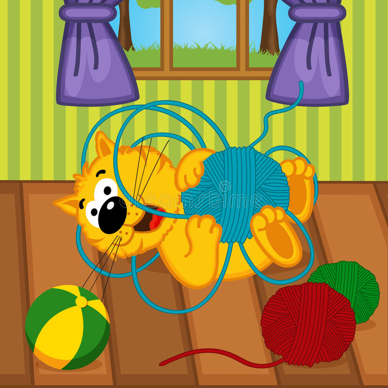 Gato que joga com a bola do fio na sala ilustração royalty free