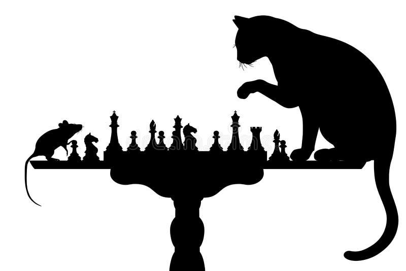 Gato que joga com rato ilustração stock