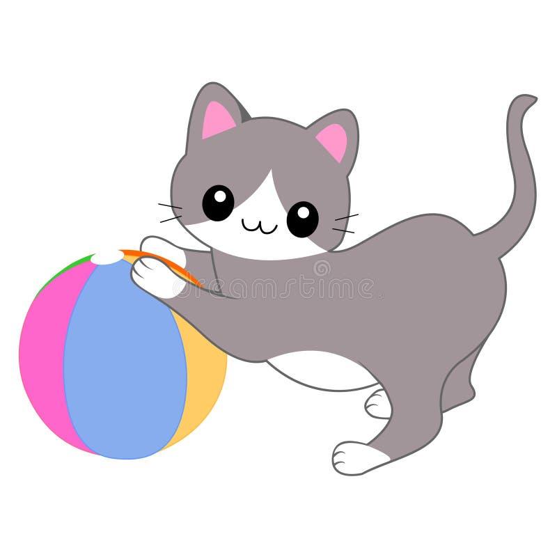 Gato que joga com uma esfera ilustração stock