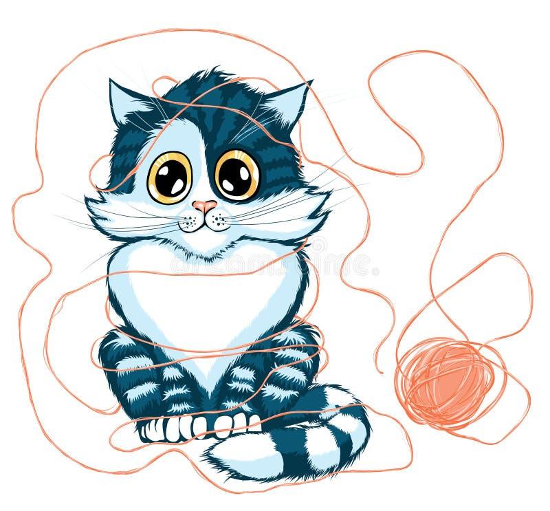 Gato que juega con la bola del hilado ilustración del vector