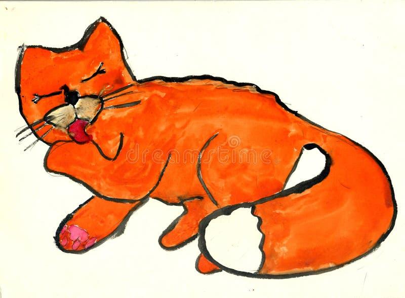 Gato que lambe a pata ilustração royalty free