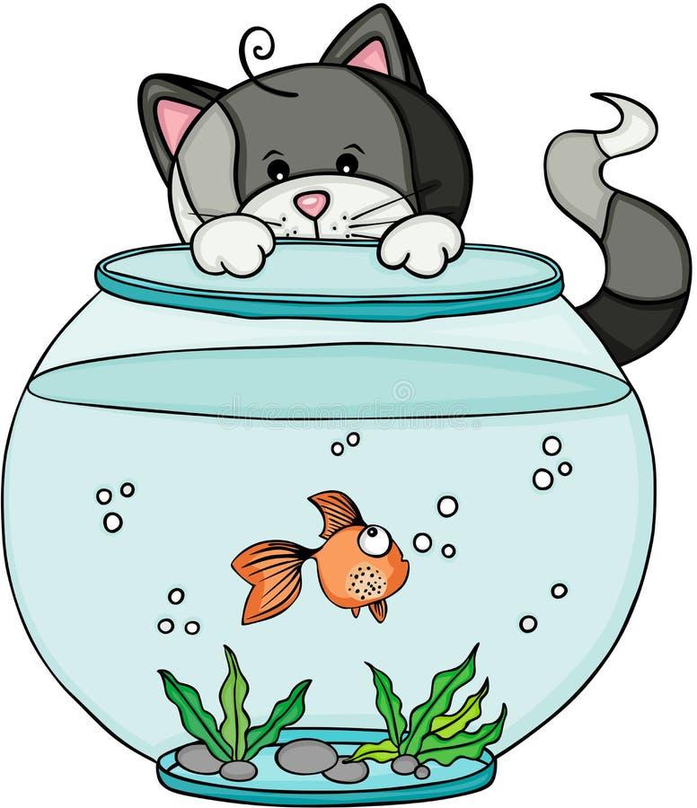 Gato que mira el acuario con los pescados stock de ilustración