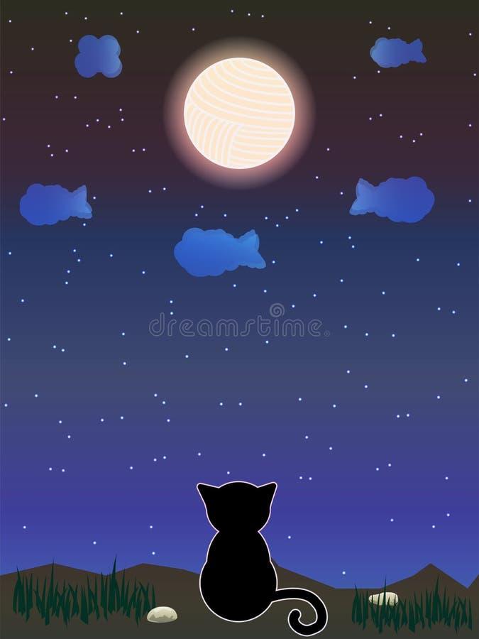 Gato que mira la fantasía del cielo libre illustration