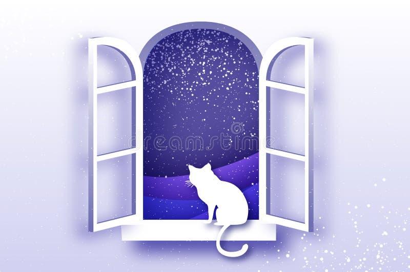 Gato que olha através dos feriados do Feliz Natal do conspirador da janela do origâmi e da natureza nevado do xmas Ano novo feliz ilustração stock