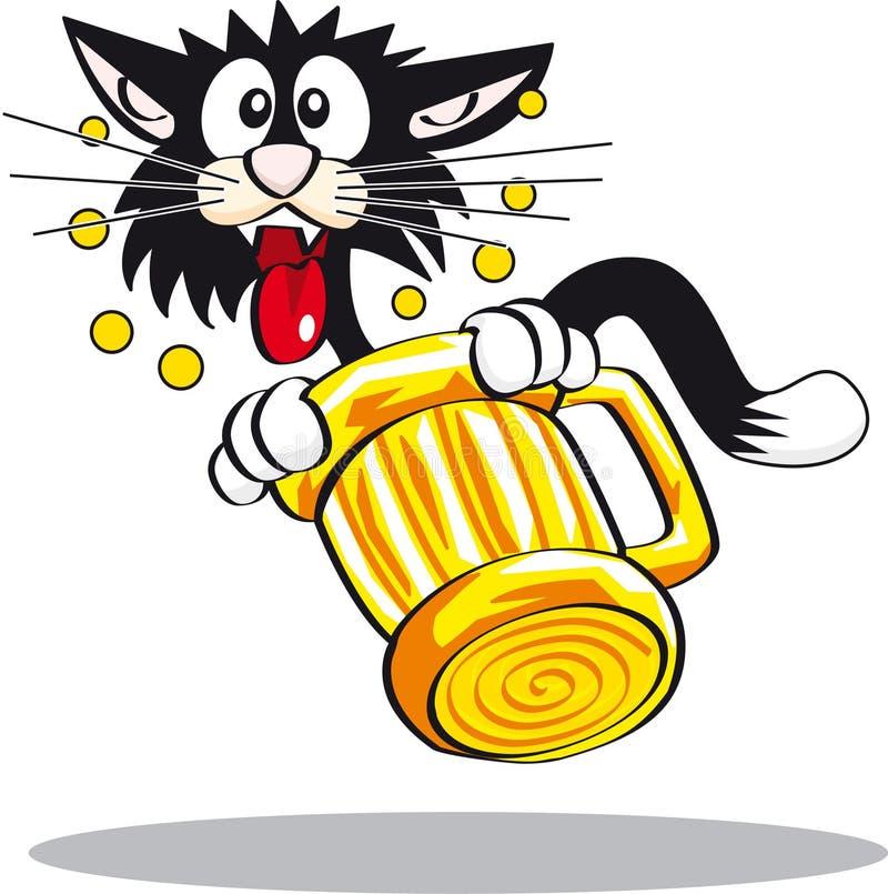 Gato que se ahoga en cerveza ilustración del vector