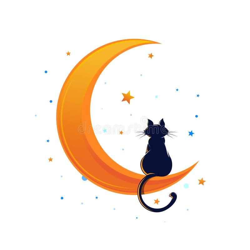 Gato que senta-se em uma lua crescente cercada por estrelas ilustração royalty free