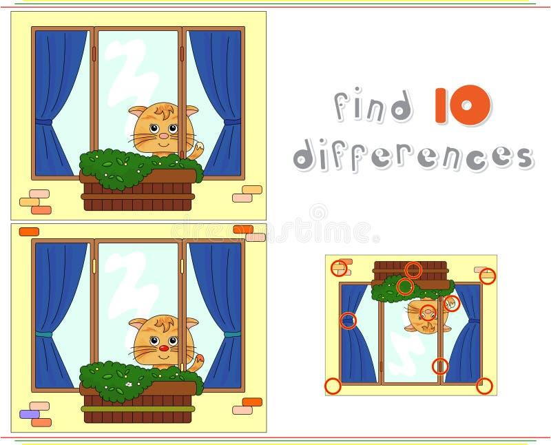 Gato que senta-se na janela com potenciômetros e cortinas de flor Educati ilustração royalty free