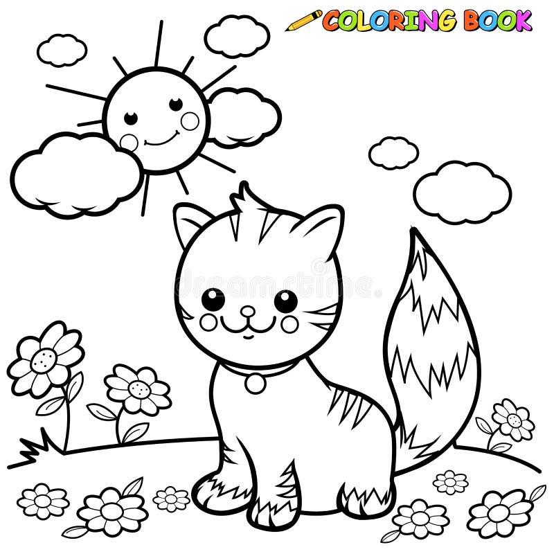 Gato que senta-se na página do livro para colorir da grama ilustração royalty free