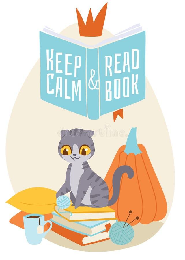 Gato que senta-se na pilha dos livros com o copo do chá e que joga com a bola do fio cercada por descansos Ilustração do vetor ilustração stock