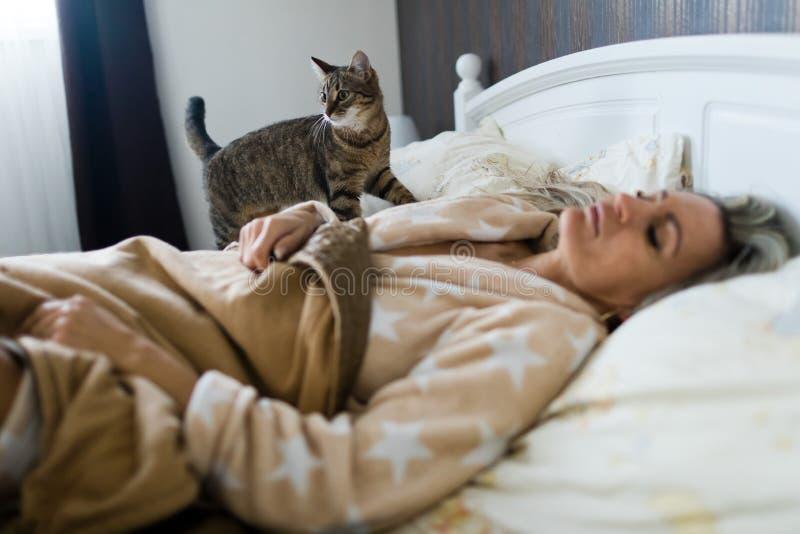 Gato que verifica a mulher de sono em um bedv foto de stock