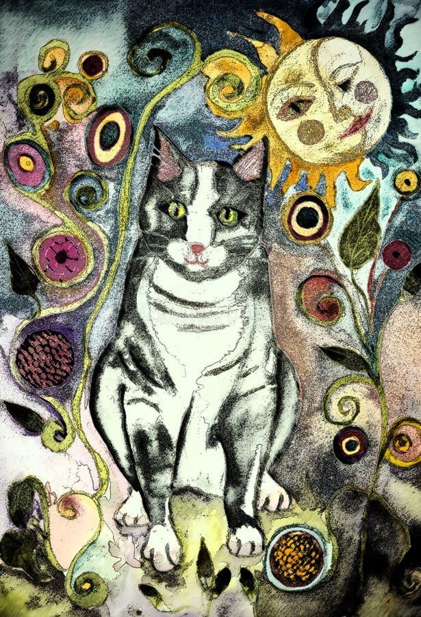 Gato rústico com beijo do sol e da lua ilustração do vetor