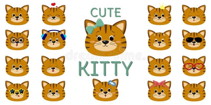 Gato rayado rojo lindo, sistema mega de diversas emociones Estilo de la historieta, diseño plano, ejemplo del vector stock de ilustración