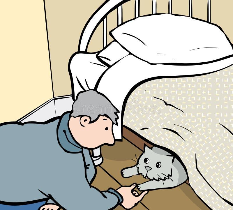 Gato relutante ilustração stock