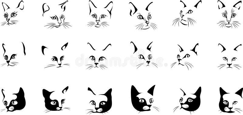 Gato, retrato, imagem gráfica, preta ilustração royalty free
