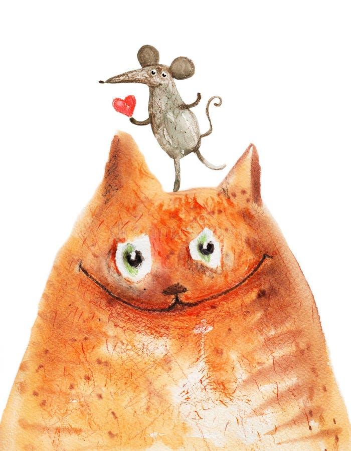 Gato rojo con el ratón con sonrisa del corazón stock de ilustración