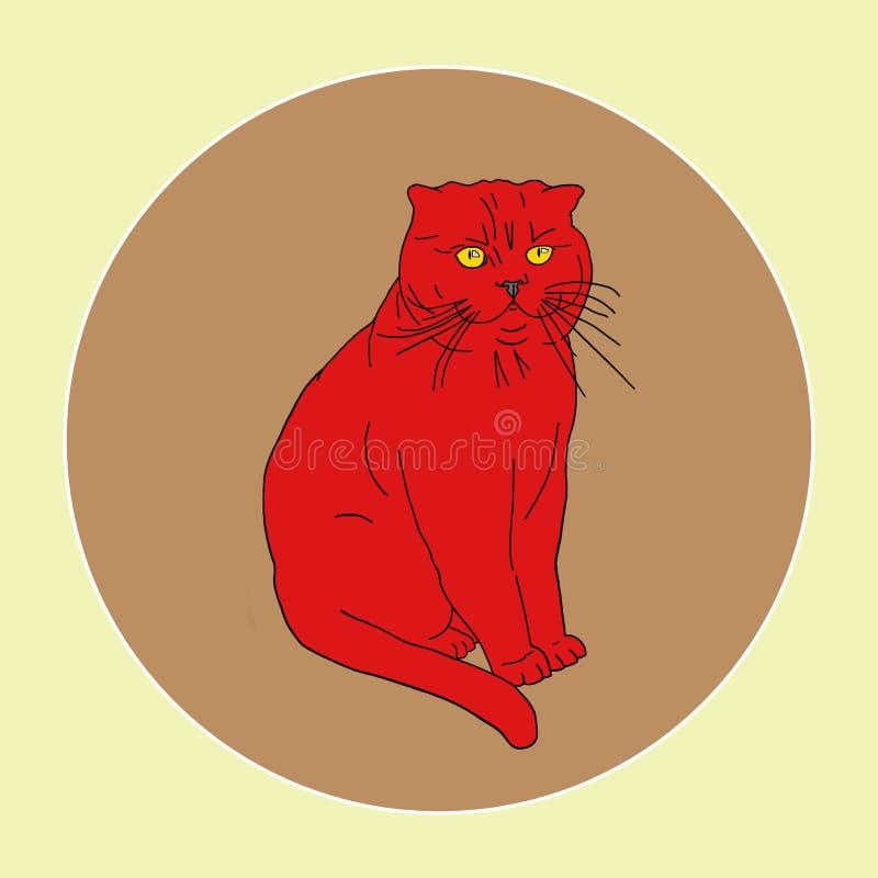 Gato rojo con los ojos anaranjados en el fondo marrón en marco redondo Pueden ser las postales, impresión de la tela, cartel Moda imagen de archivo libre de regalías