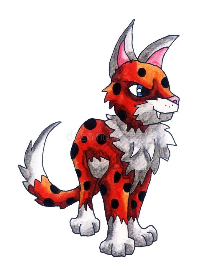 Gato rojo de la fantasía de la acuarela ilustración del vector