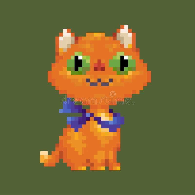 Gato rojo del arte del pixel del vector en bufanda azul ilustración del vector