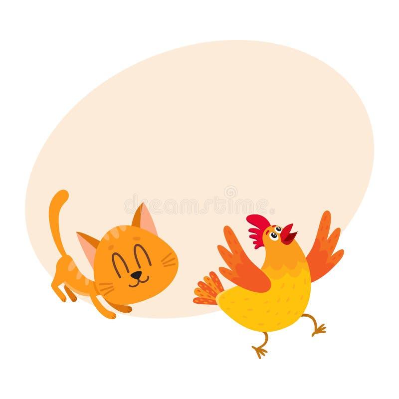 Gato rojo divertido, persecución del carácter del gatito, jugando con el pollo ilustración del vector