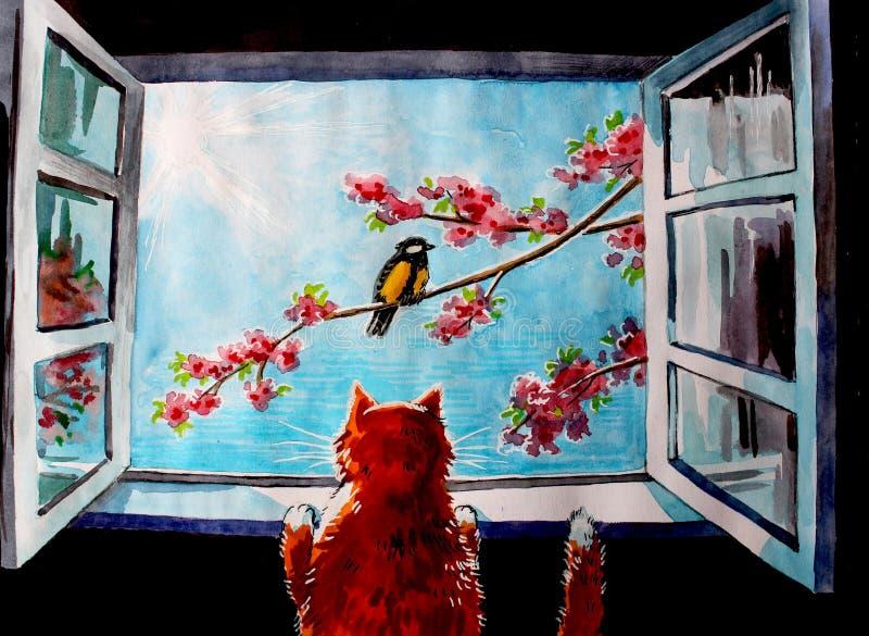 Gato rojo en ventana y pájaro stock de ilustración