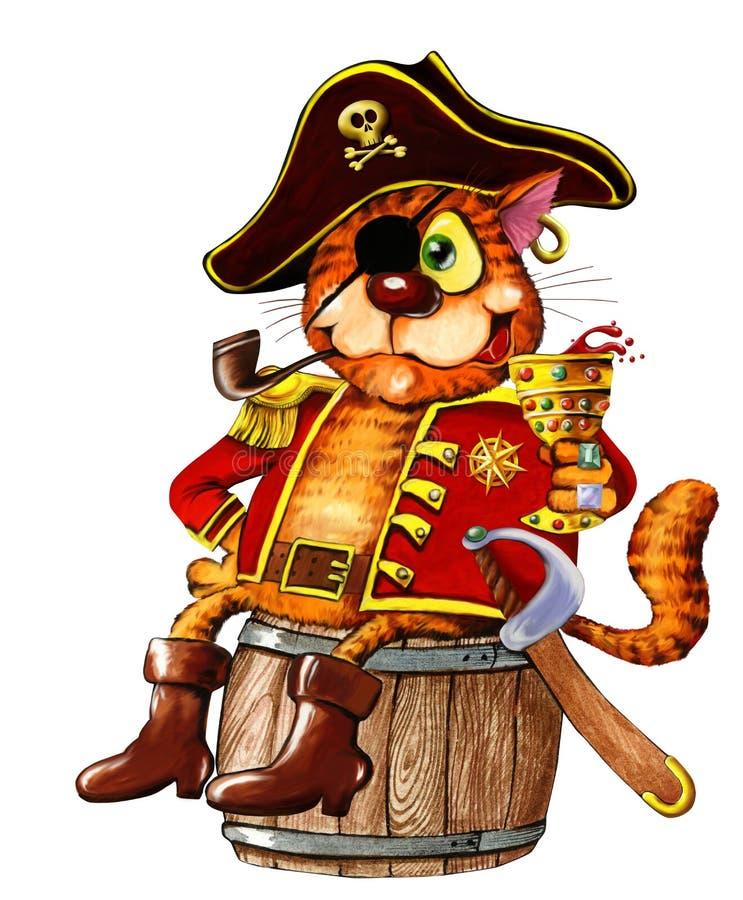 Gato rojo tuerto del pirata ilustración del vector