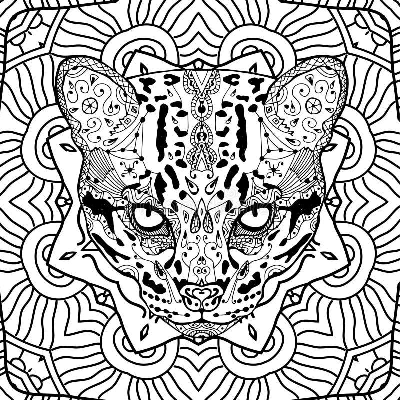 Gato selvagem no teste padrão tribal circular do fundo Página de Colroing para adultos Linha arte ilustração stock