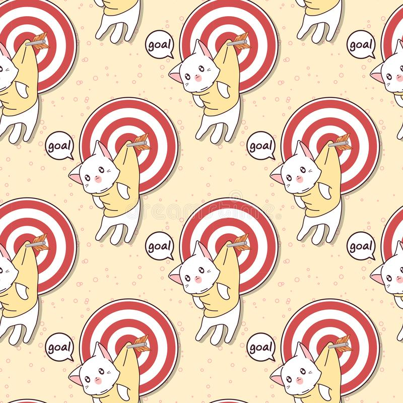 Gato sem emenda e objetivo do kawaii com teste padrão da seta ilustração stock