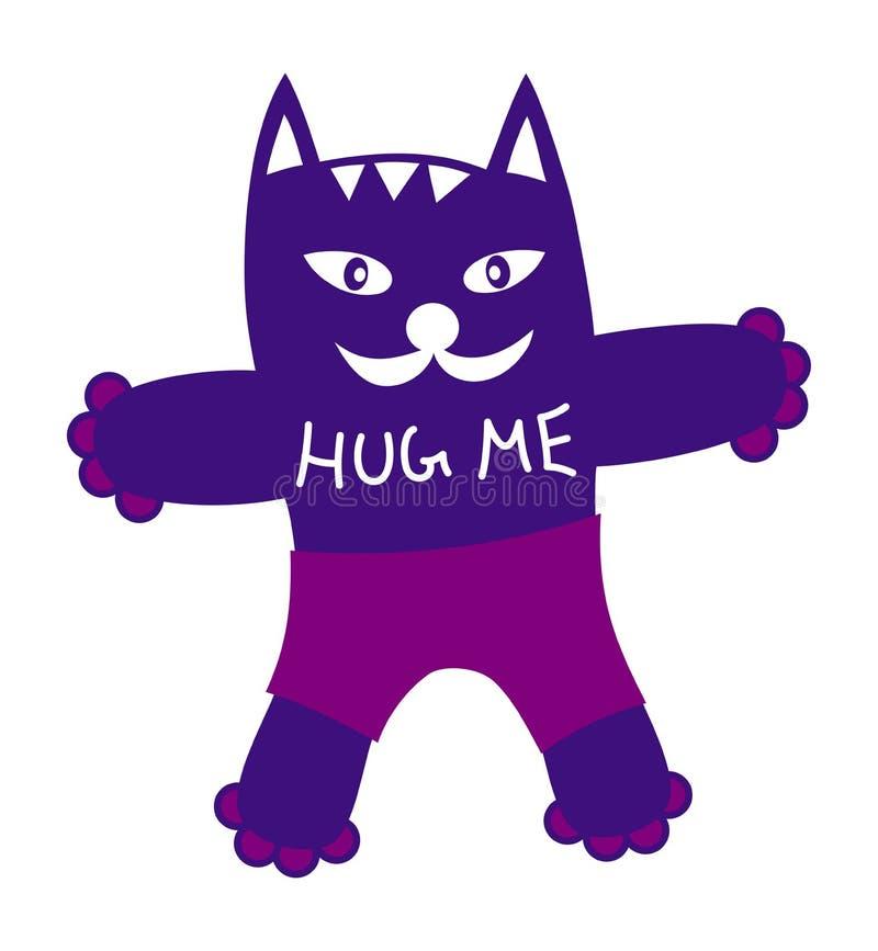 Gato simbólico engraçado dos desenhos animados no short e com as palavras - abrace-me ilustração stock