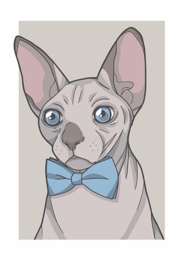 Gato sin pelo de Sphynx con el ejemplo azul del gráfico de vector del retrato del bowtie stock de ilustración
