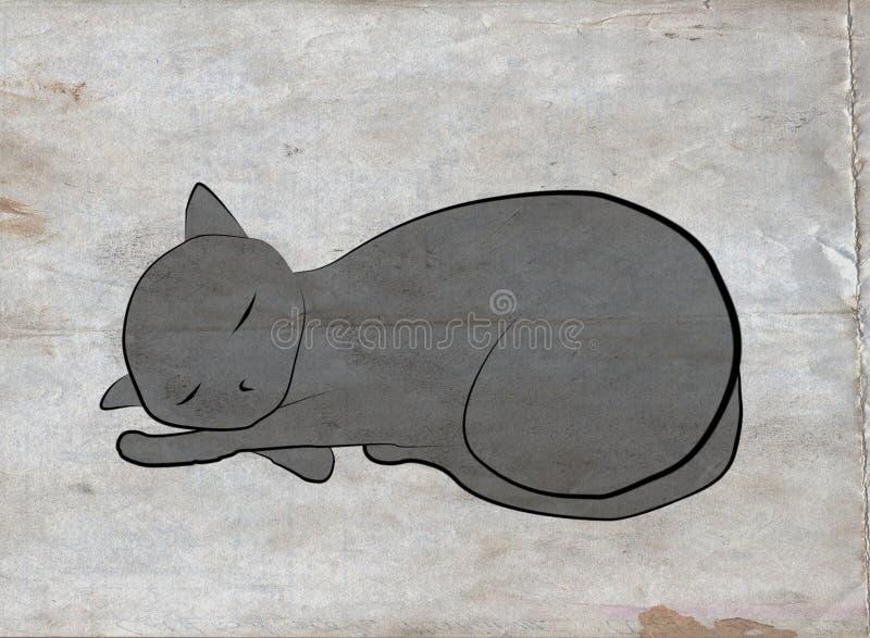 Gato sobre o grunge ilustração stock