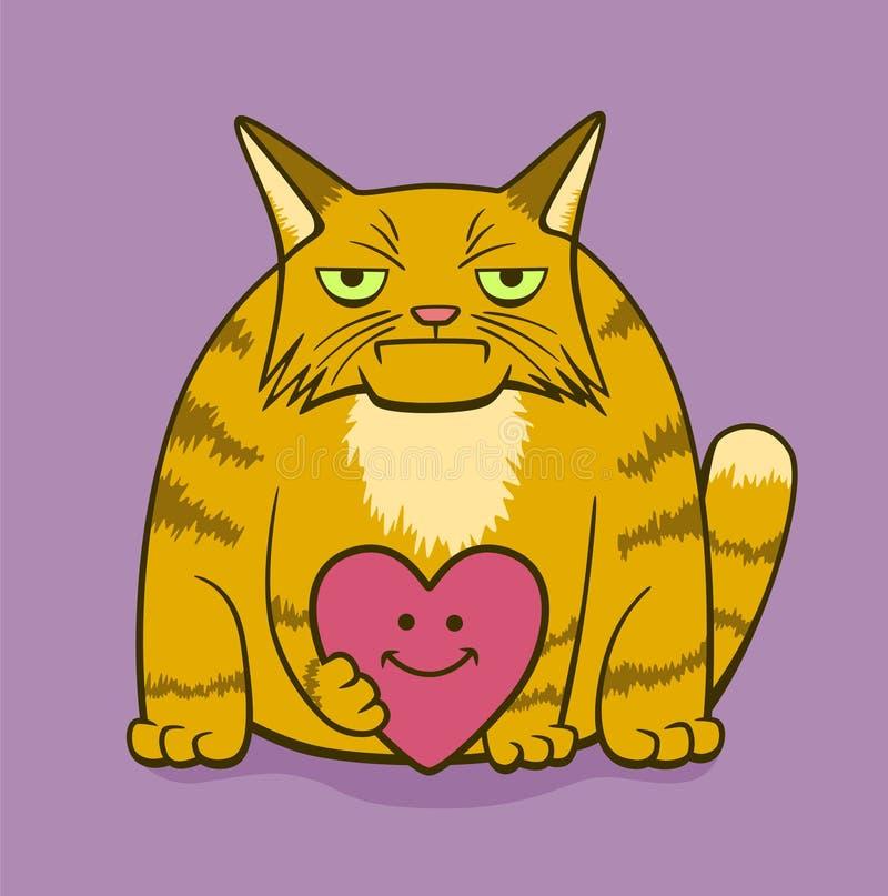 Gato sombrio dos desenhos animados com coração de sorriso ilustração do vetor