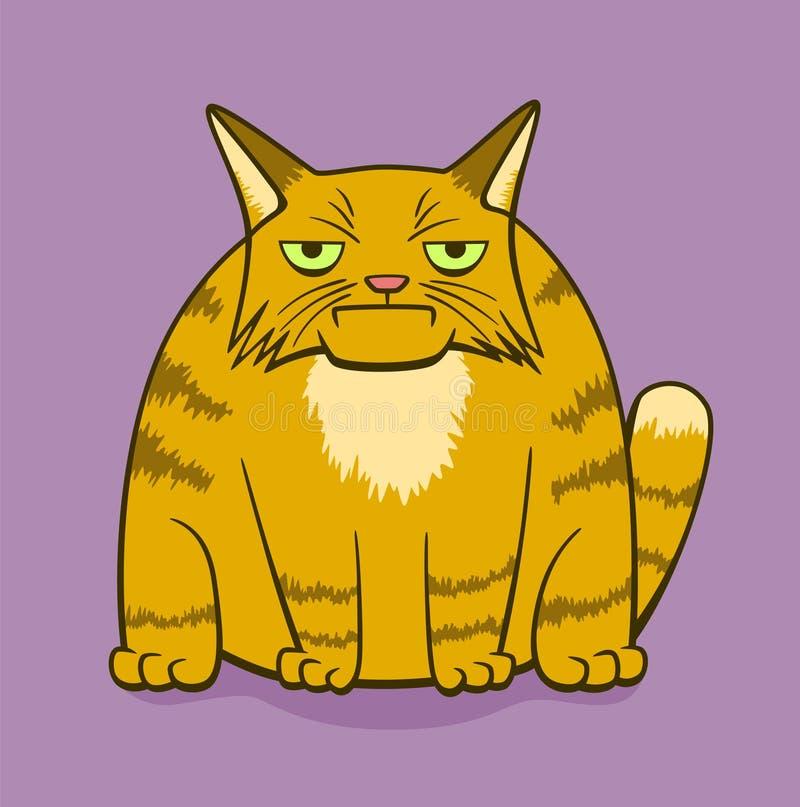 Gato sombrio dos desenhos animados ilustração stock