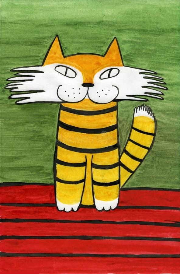 Gato sonriente stock de ilustración