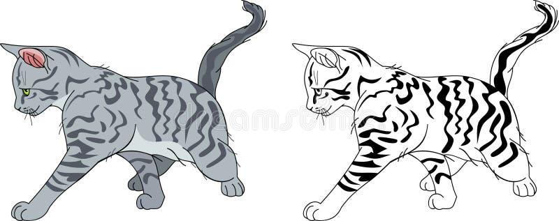 Gato stripy Running ilustração stock