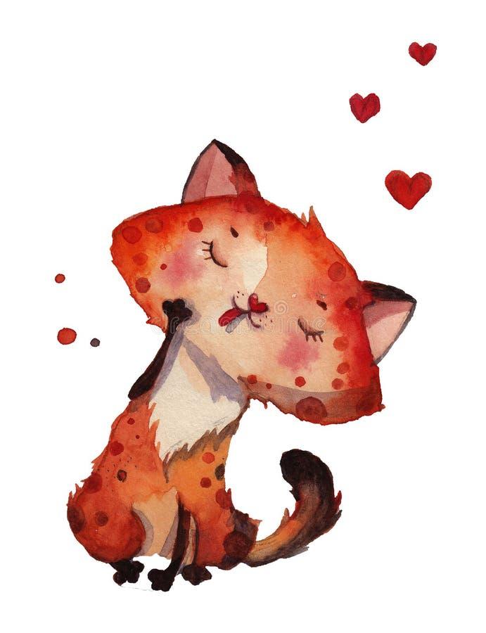 Gato tirado mão dos desenhos animados da aquarela com corações ilustração royalty free