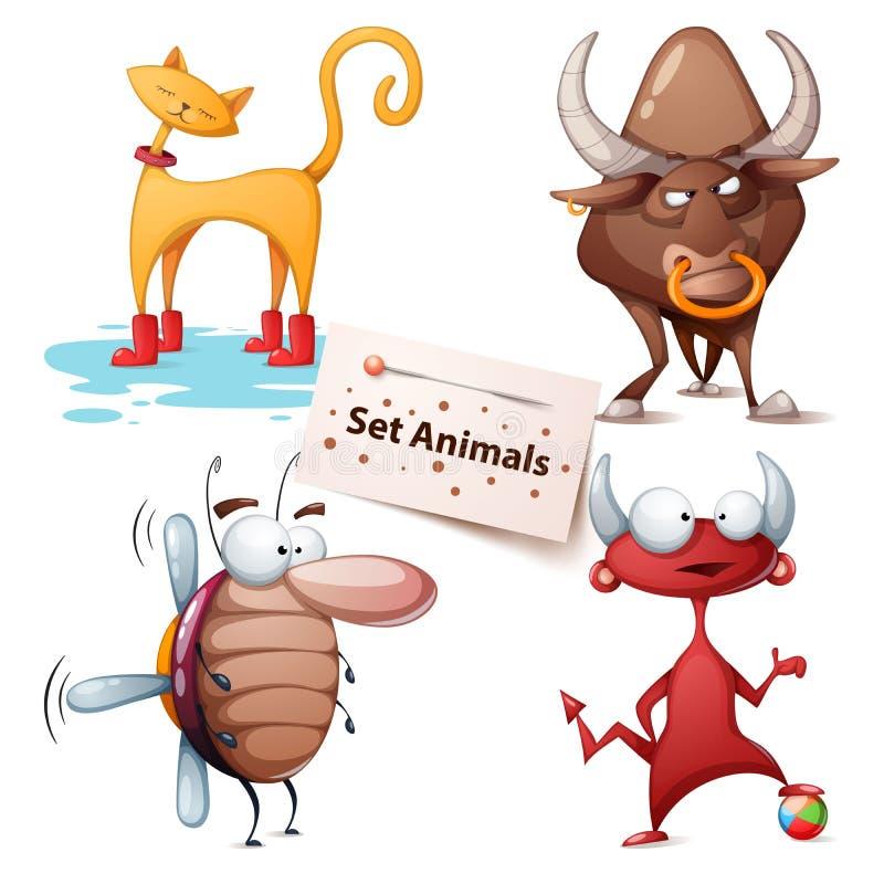 Gato, touro, barata, diabo - animais ajustados ilustração stock