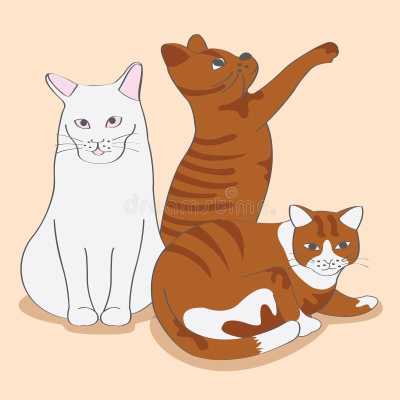 Gato tres lindo stock de ilustración