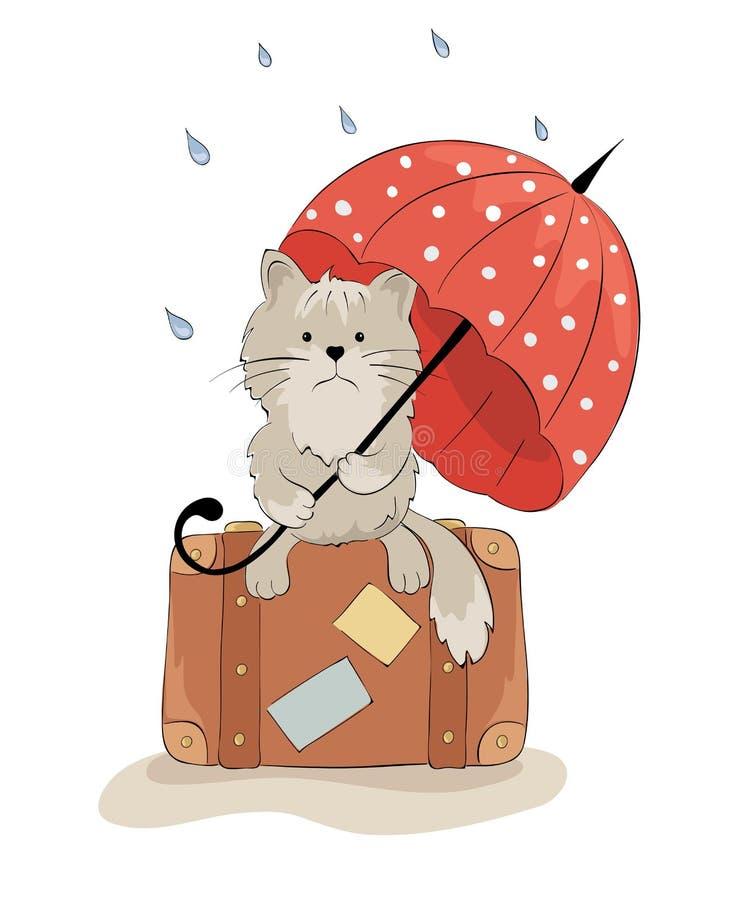 Gato triste com um guarda-chuva ilustração do vetor