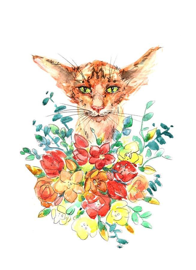 Gato vermelho com ilustração da aquarela do cartão das flores foto de stock royalty free