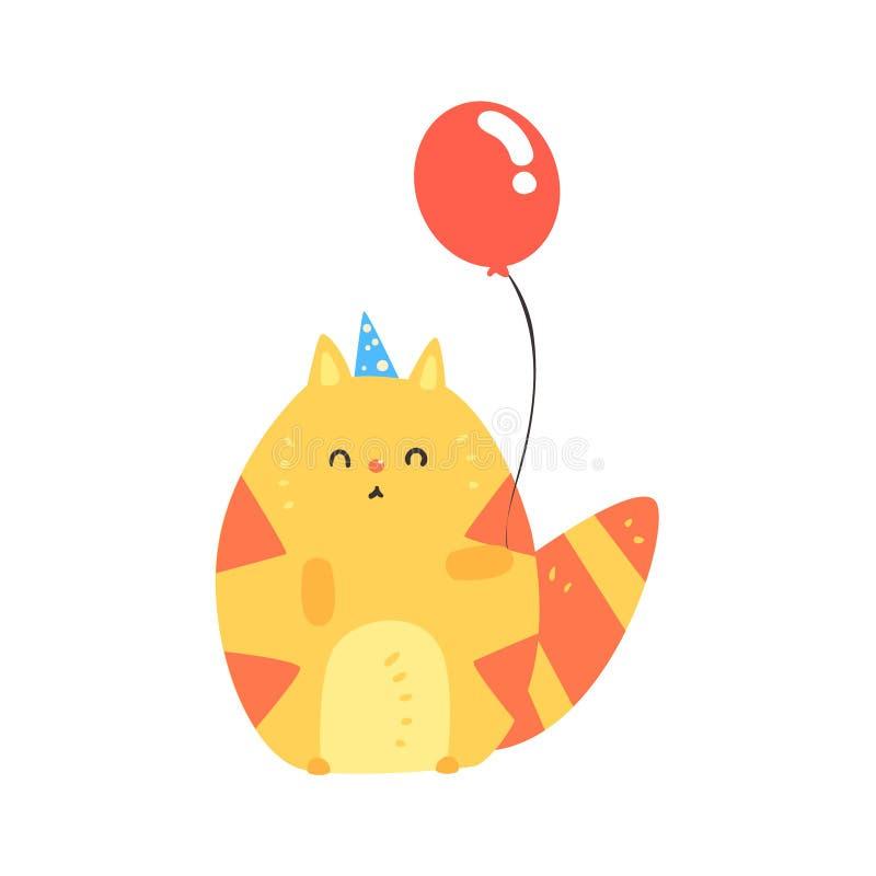 Gato vermelho dos desenhos animados bonitos em um chapéu azul do partido que guarda o balão Ilustração colorida do vetor do feliz ilustração stock