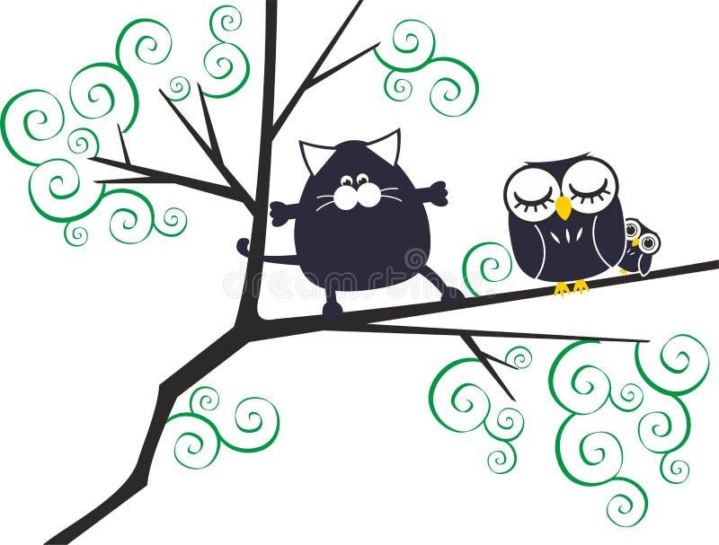 Gato y búhos ilustración del vector