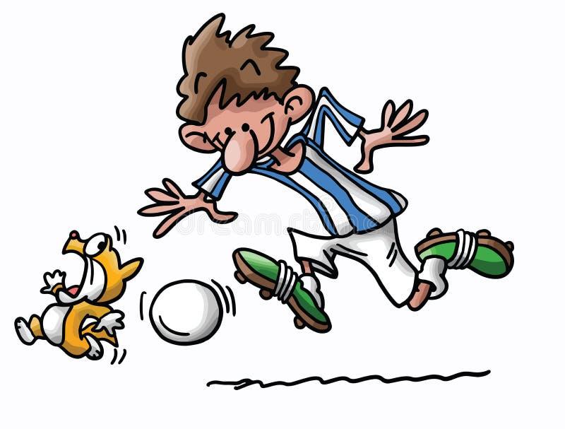 Gato y hombre de la historieta que juegan vector del fútbol libre illustration