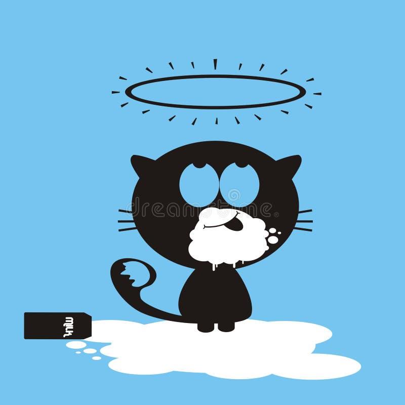 Gato y leche libre illustration
