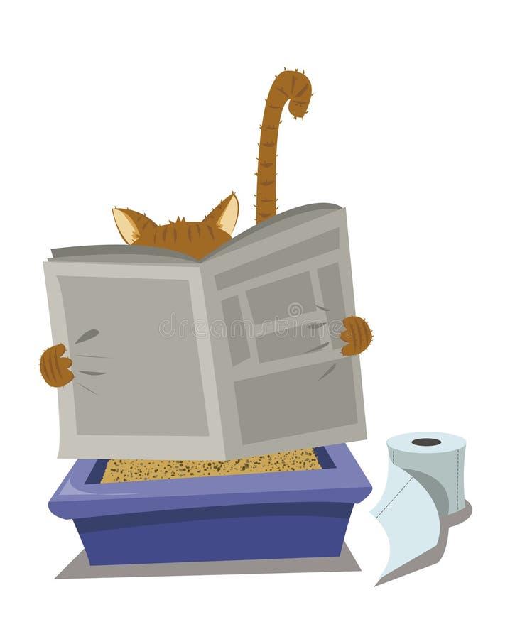 Gato y Litterbox stock de ilustración