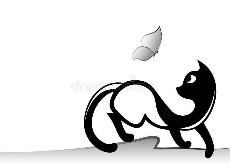 Gato y mariposa ilustración del vector
