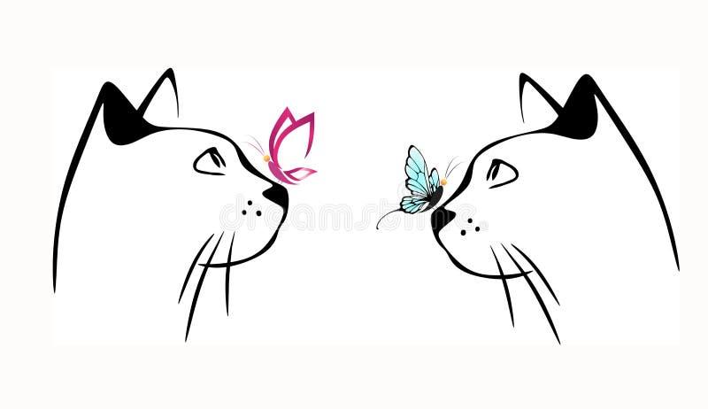 Gato y mariposa en nariz libre illustration