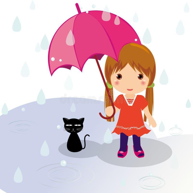 Gato y muchacha del día lluvioso stock de ilustración