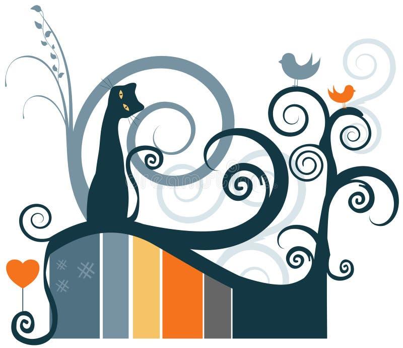 Gato y pájaros stock de ilustración